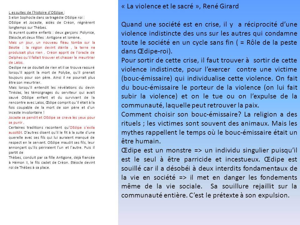 « La violence et le sacré », René Girard