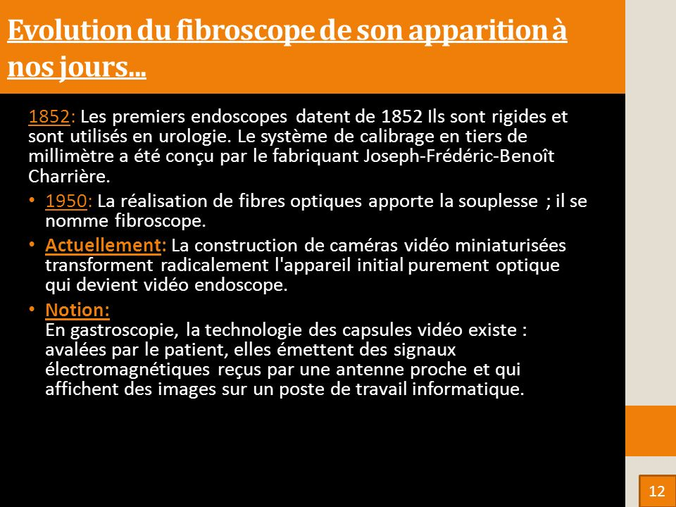 Evolution du fibroscope de son apparition à nos jours...