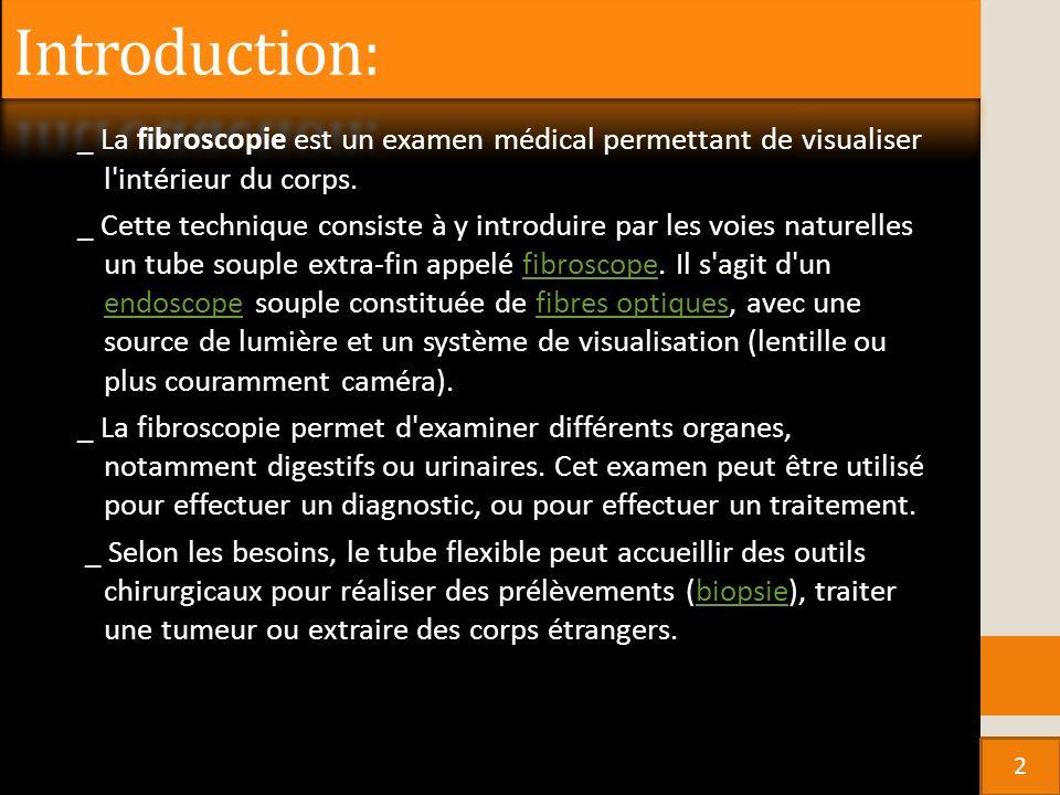 Introduction: _ La fibroscopie est un examen médical permettant de visualiser l intérieur du corps.