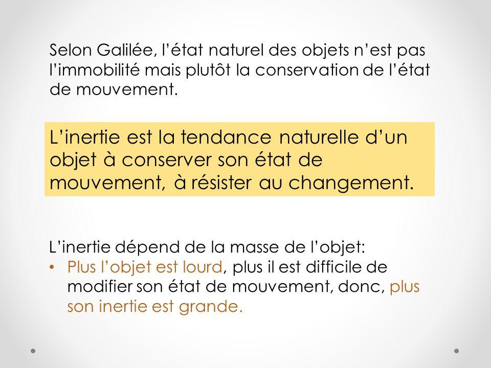 Selon Galilée, l'état naturel des objets n'est pas l'immobilité mais plutôt la conservation de l'état de mouvement.