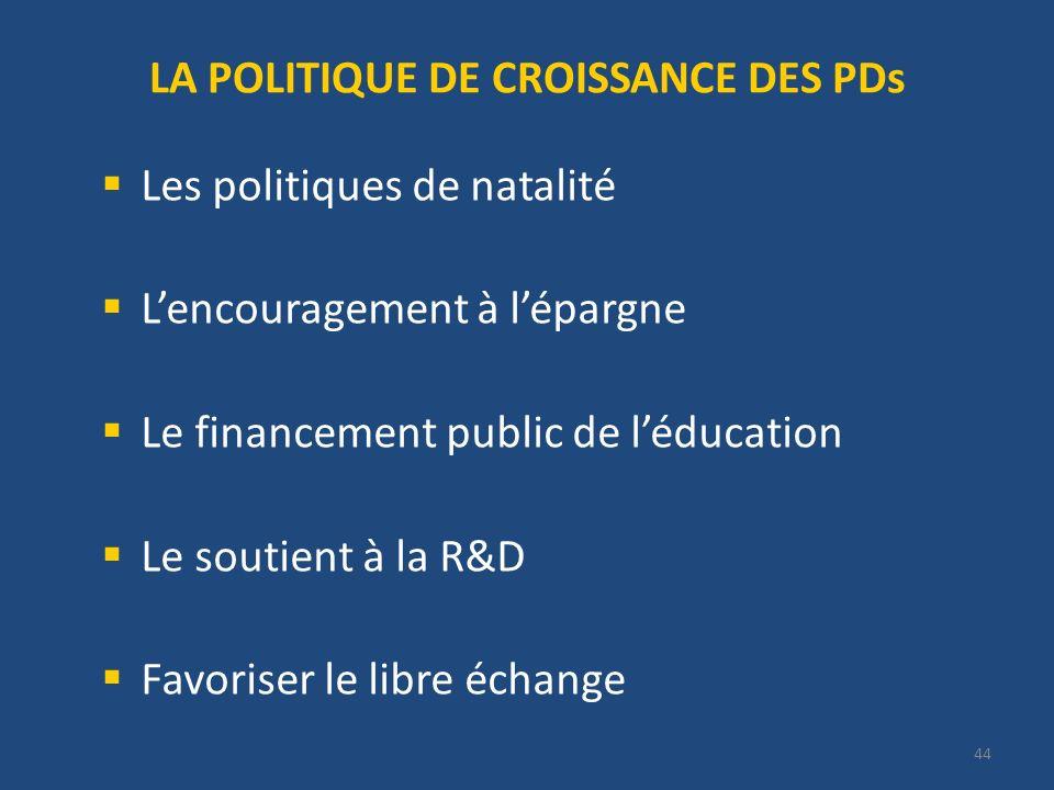 LA POLITIQUE DE CROISSANCE DES PDs