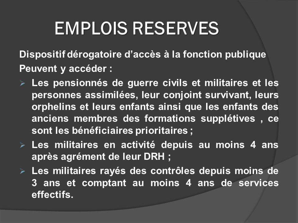 EMPLOIS RESERVES Dispositif dérogatoire d'accès à la fonction publique