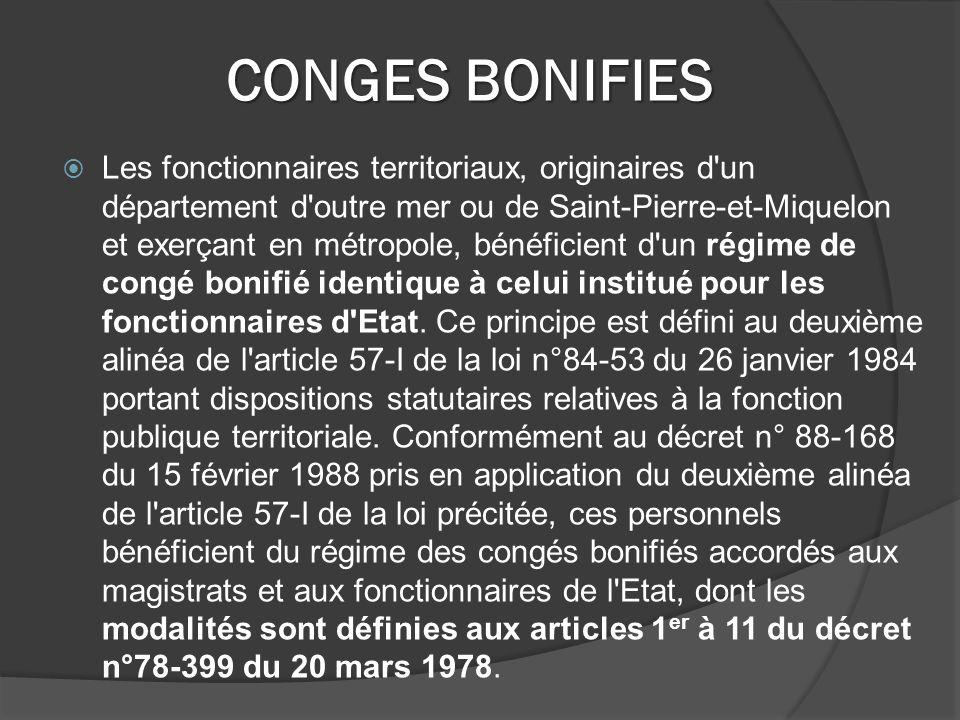 CONGES BONIFIES
