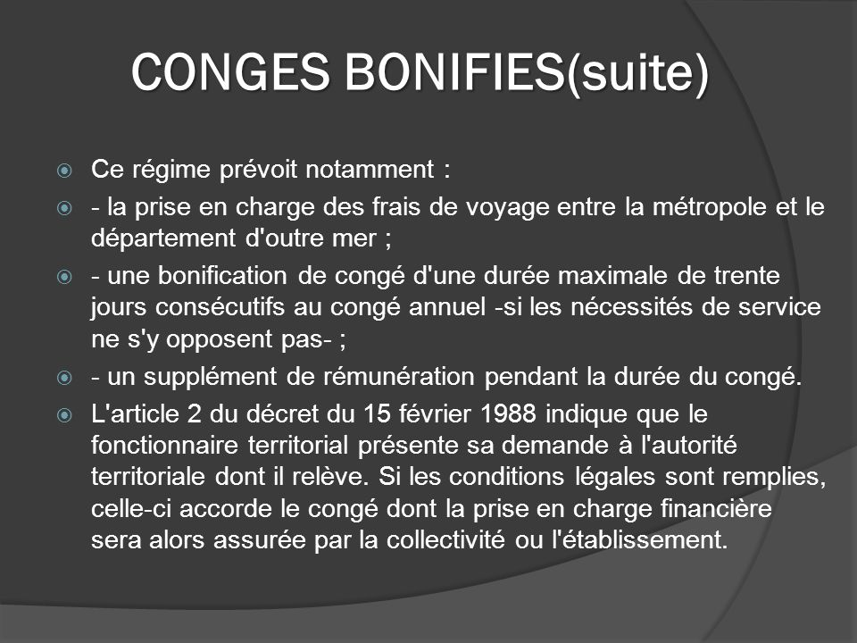 CONGES BONIFIES(suite)