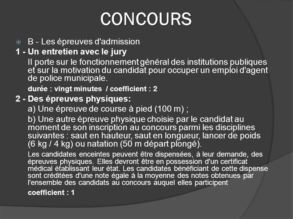 CONCOURS B - Les épreuves d admission 1 - Un entretien avec le jury