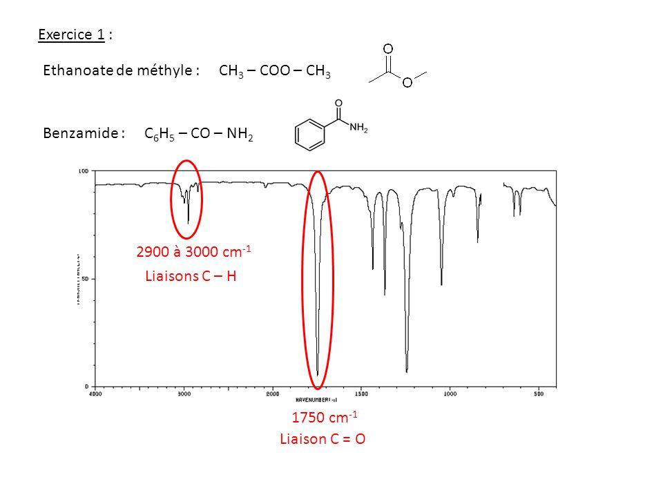 Exercice 1 : Ethanoate de méthyle : CH3 – COO – CH3. Benzamide : C6H5 – CO – NH2. 2900 à 3000 cm-1.