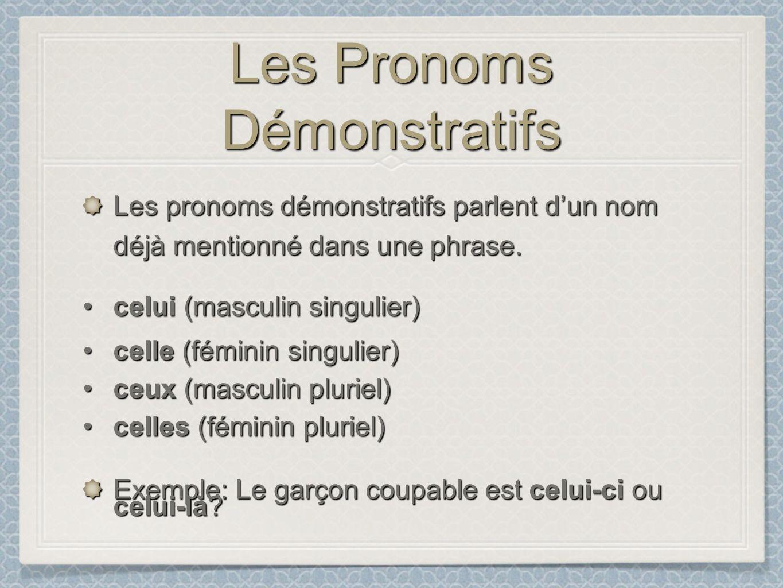 Les Pronoms Démonstratifs