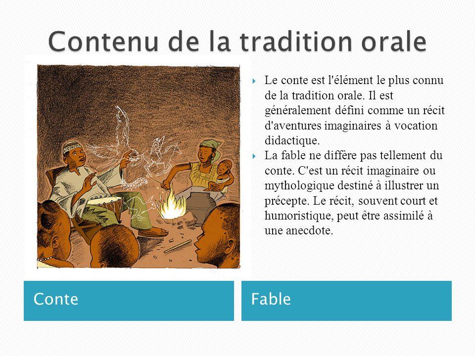 Contenu de la tradition orale