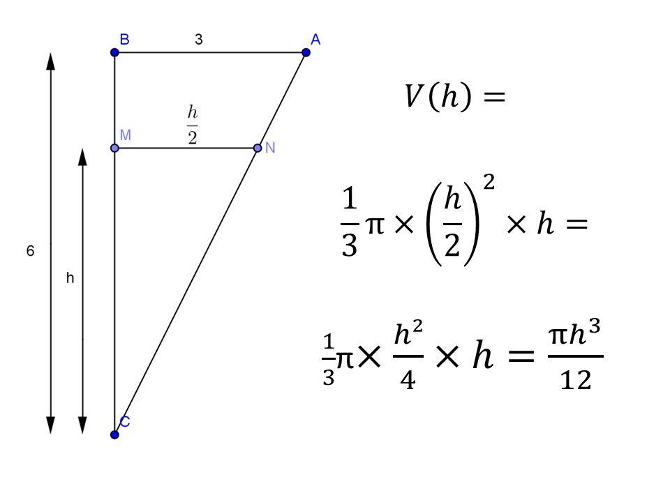 𝑉 ℎ = 1 3 π× ℎ 2 2 ×ℎ= 1 3 π× ℎ² 4 ×ℎ= π ℎ 3 12.