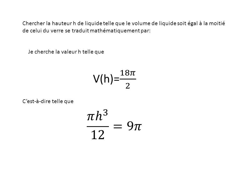 Chercher la hauteur h de liquide telle que le volume de liquide soit égal à la moitié de celui du verre se traduit mathématiquement par: