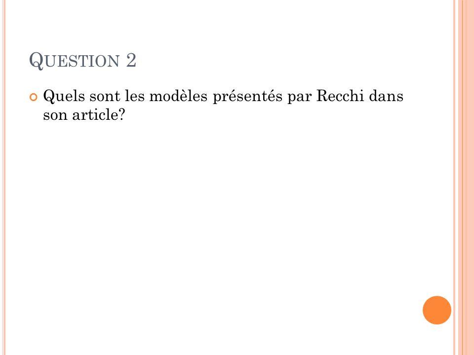 Question 2 Quels sont les modèles présentés par Recchi dans son article