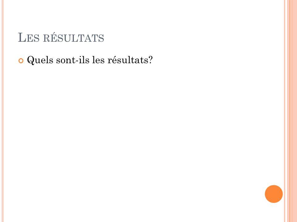 Les résultats Quels sont-ils les résultats