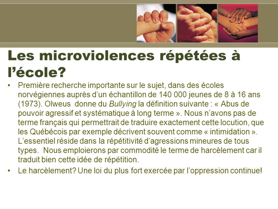 Les microviolences répétées à l'école