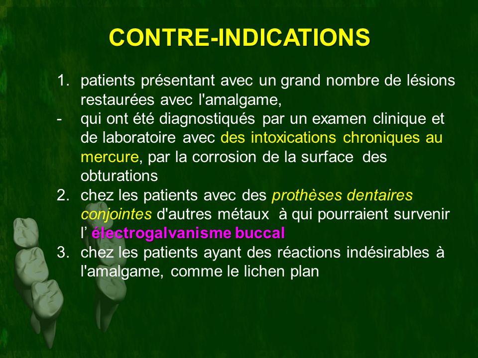 CONTRE-INDICATIONS patients présentant avec un grand nombre de lésions restaurées avec l amalgame,