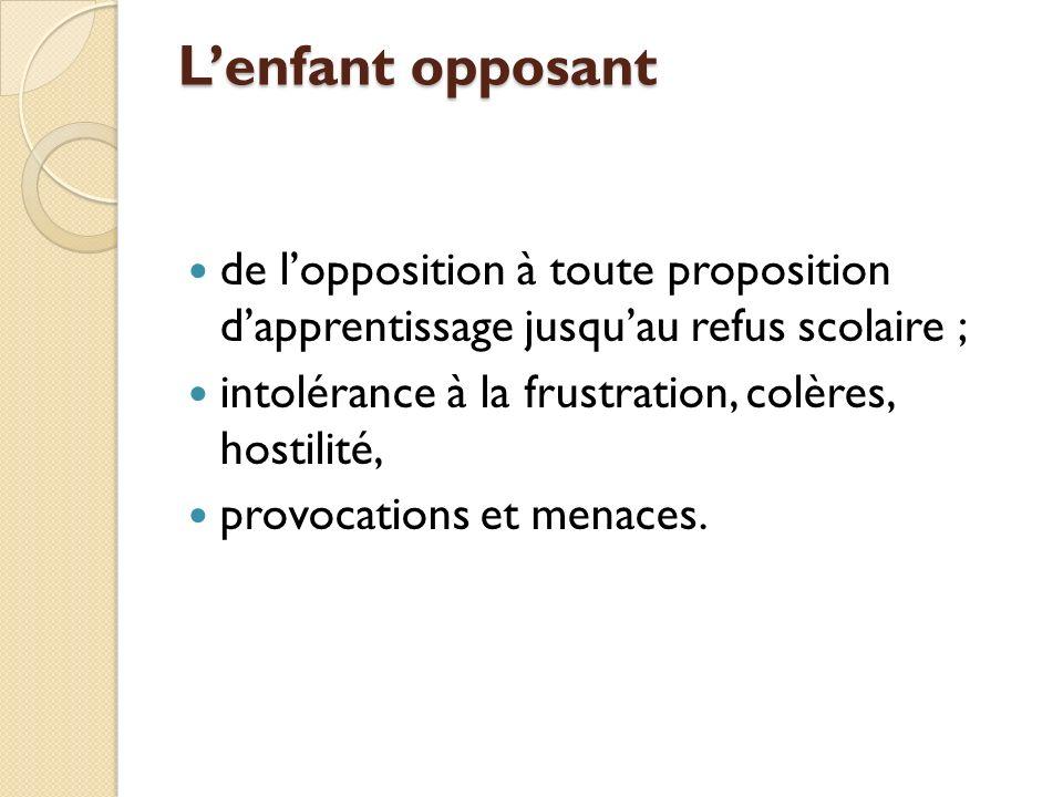 L'enfant opposant de l'opposition à toute proposition d'apprentissage jusqu'au refus scolaire ; intolérance à la frustration, colères, hostilité,