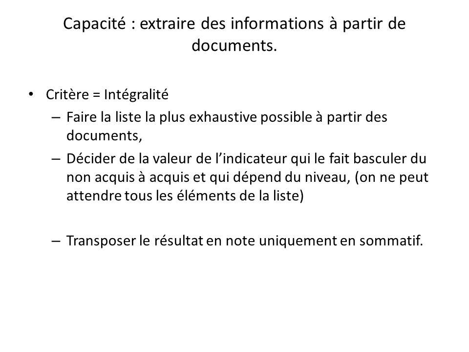 Capacité : extraire des informations à partir de documents.