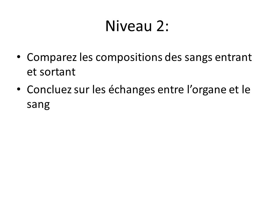 Niveau 2: Comparez les compositions des sangs entrant et sortant