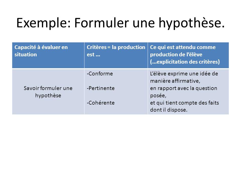 Exemple: Formuler une hypothèse.