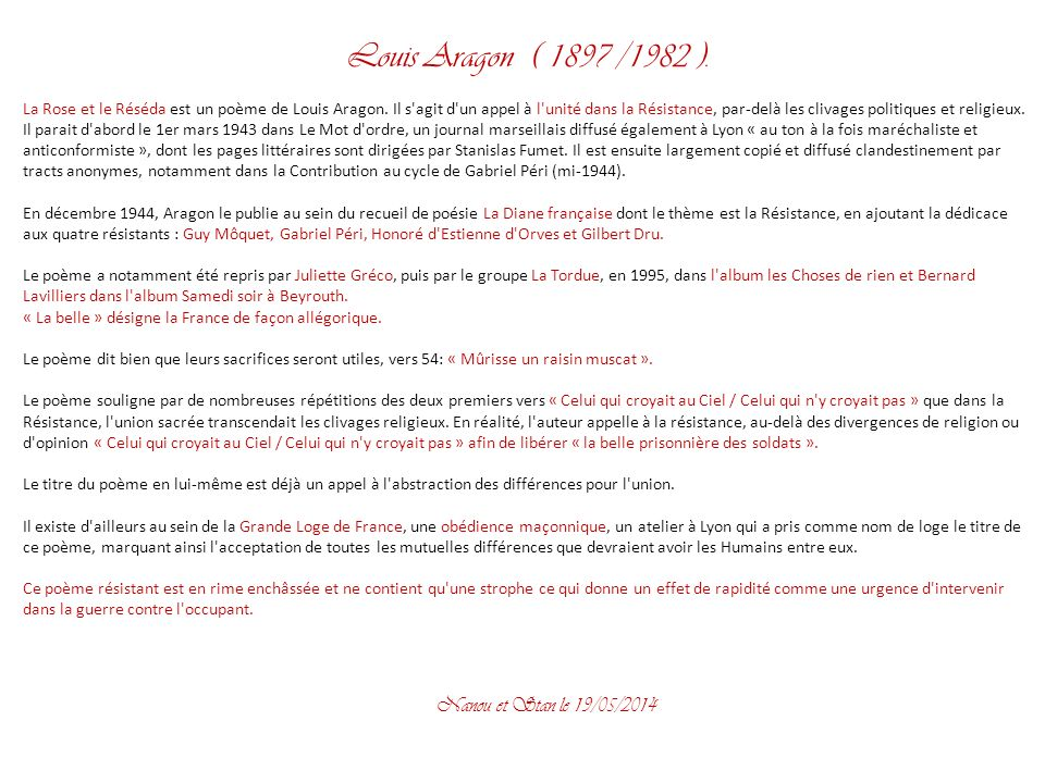 Louis Aragon ( 1897 /1982 ). Nanou et Stan le 31/03/2017