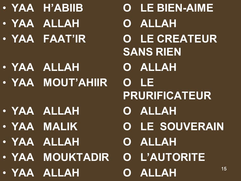 YAA H'ABIIB O LE BIEN-AIME