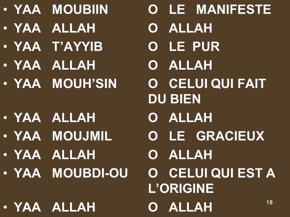 YAA MOUBIIN O LE MANIFESTE
