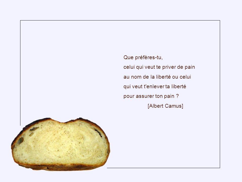 Que préfères-tu, celui qui veut te priver de pain. au nom de la liberté ou celui. qui veut t enlever ta liberté.