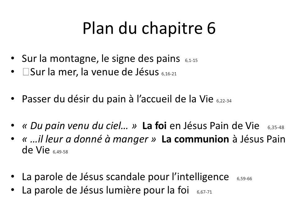 Plan du chapitre 6 Sur la montagne, le signe des pains 6,1-15