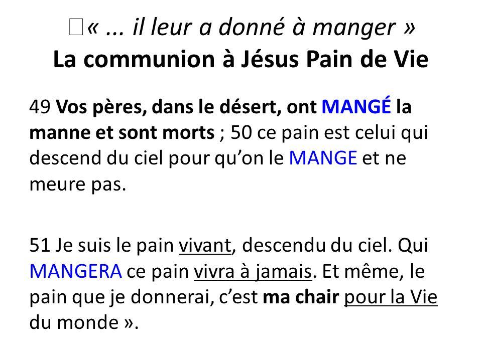« ... il leur a donné à manger » La communion à Jésus Pain de Vie