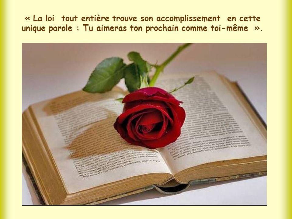 « La loi tout entière trouve son accomplissement en cette unique parole : Tu aimeras ton prochain comme toi-même ».