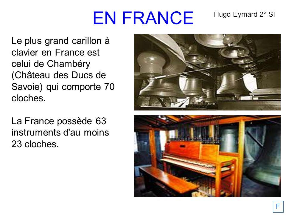 EN FRANCE Hugo Eymard 2° SI. Le plus grand carillon à clavier en France est celui de Chambéry (Château des Ducs de Savoie) qui comporte 70 cloches.