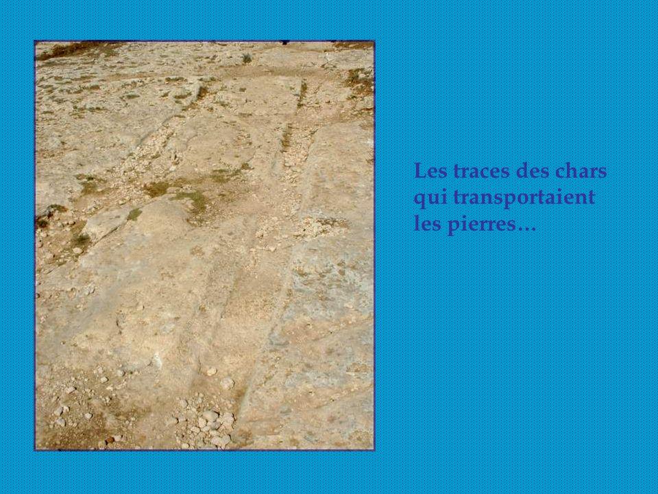 Les traces des chars qui transportaient les pierres…