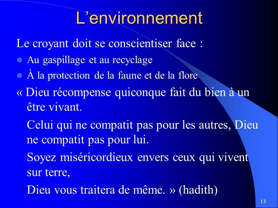 L'environnement Le croyant doit se conscientiser face :