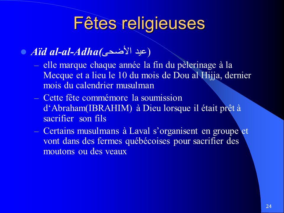Fêtes religieuses Aïd al-al-Adha(عيد الأضحى)
