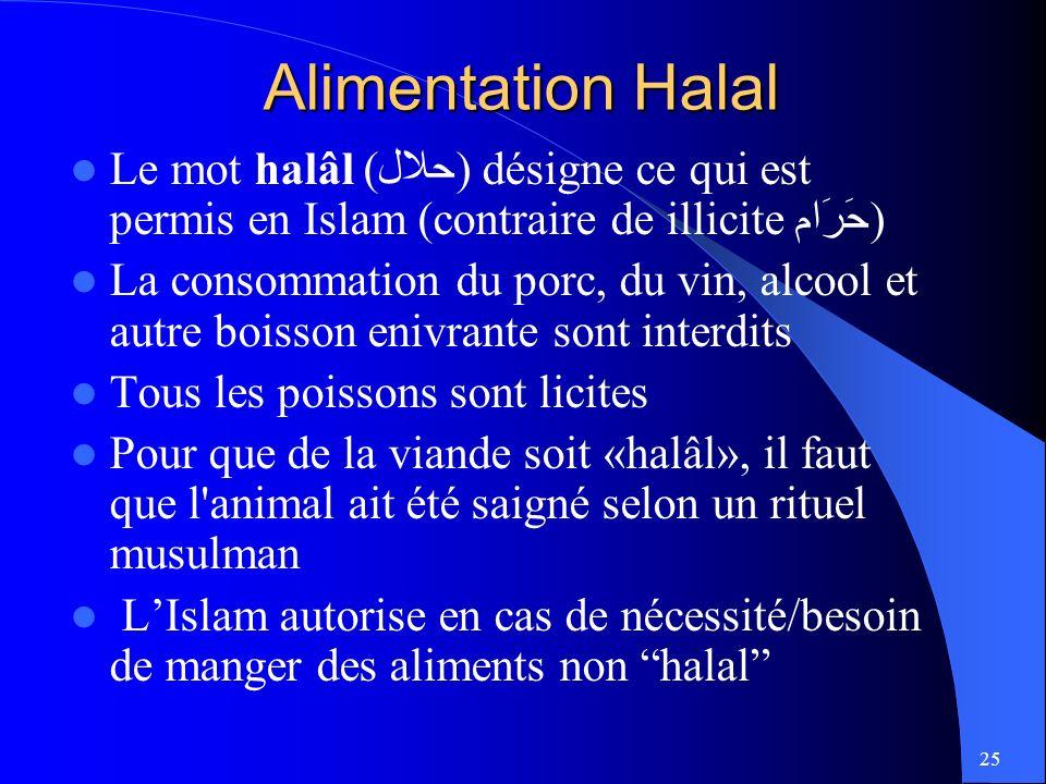 Alimentation Halal Le mot halâl (حلال) désigne ce qui est permis en Islam (contraire de illicite حَرَام)