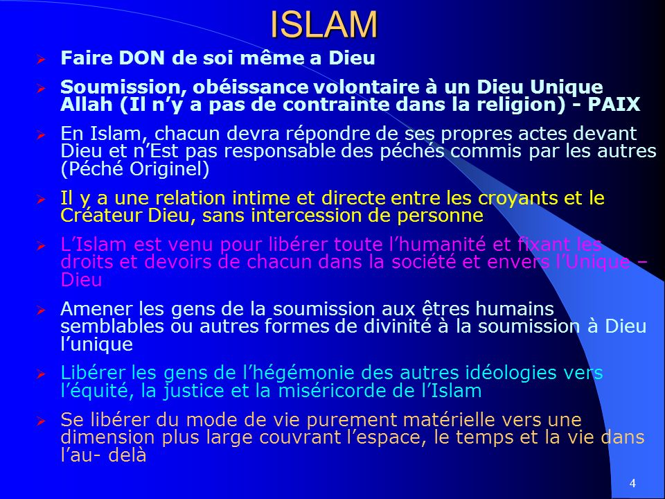 ISLAM Faire DON de soi même a Dieu