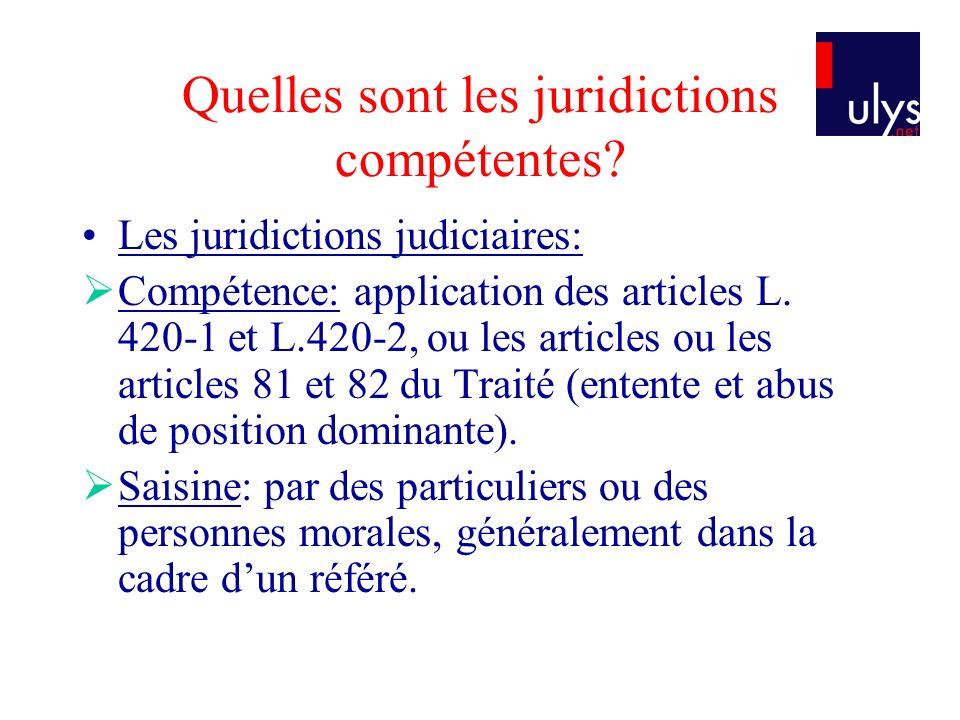 Quelles sont les juridictions compétentes