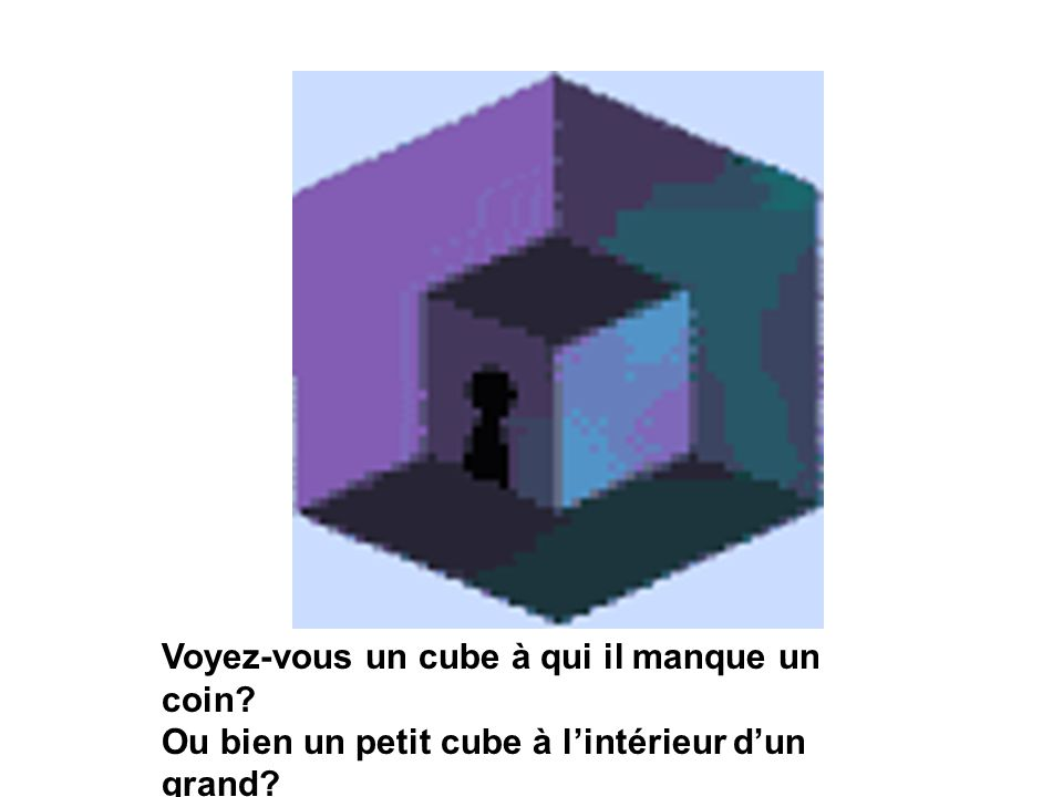 Voyez-vous un cube à qui il manque un coin