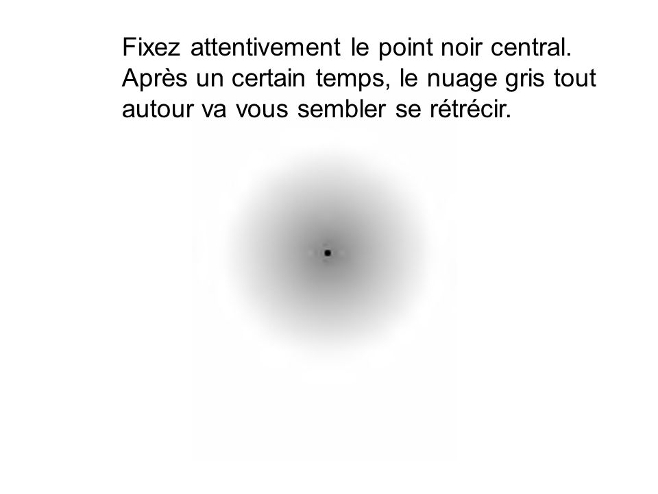Fixez attentivement le point noir central