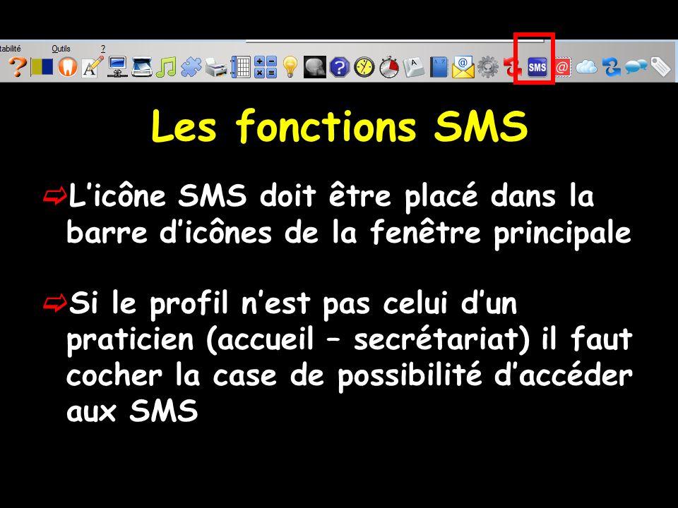 Les fonctions SMS L'icône SMS doit être placé dans la barre d'icônes de la fenêtre principale.