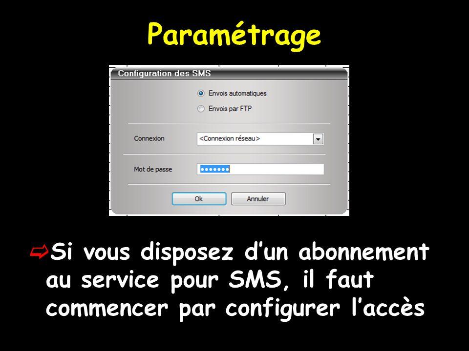 Paramétrage Si vous disposez d'un abonnement au service pour SMS, il faut commencer par configurer l'accès.