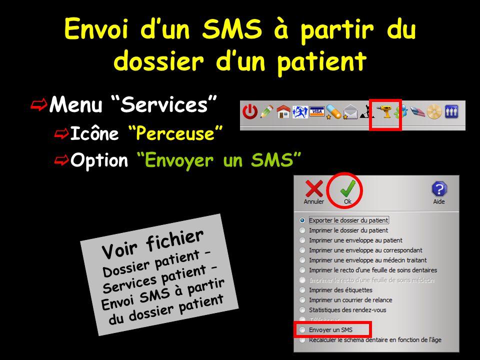 Envoi d'un SMS à partir du dossier d'un patient