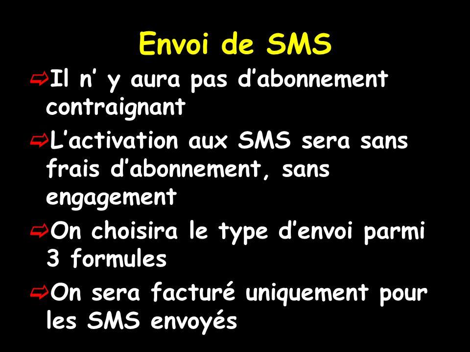 Envoi de SMS Il n' y aura pas d'abonnement contraignant