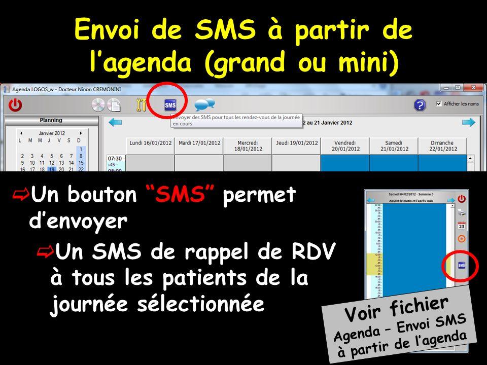 Envoi de SMS à partir de l'agenda (grand ou mini)