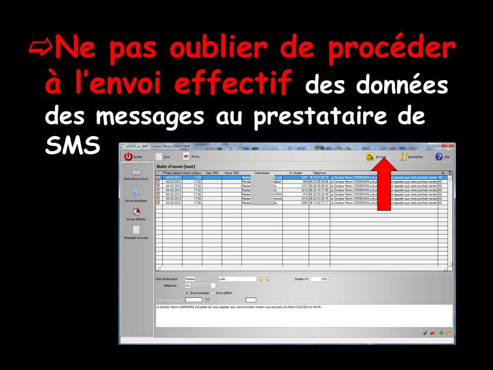 Ne pas oublier de procéder à l'envoi effectif des données des messages au prestataire de SMS