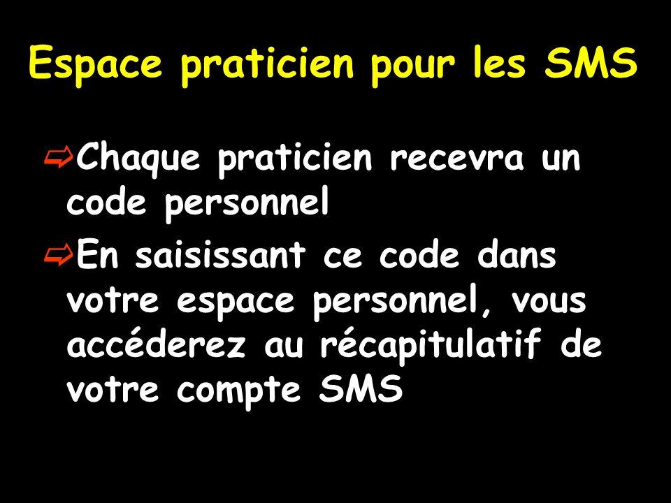 Espace praticien pour les SMS
