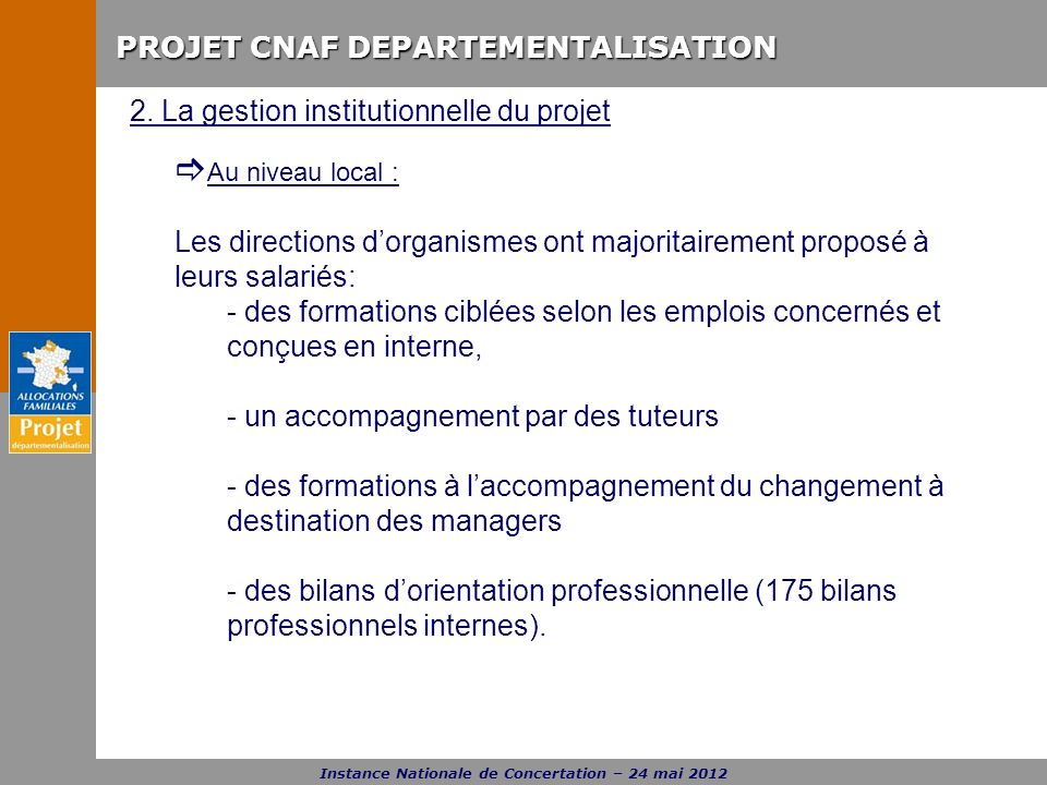 2. La gestion institutionnelle du projet
