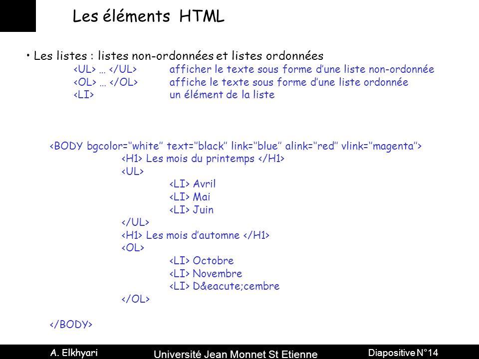 Les éléments HTML Les listes : listes non-ordonnées et listes ordonnées. <UL> … </UL> afficher le texte sous forme d'une liste non-ordonnée.