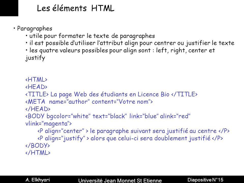 Les éléments HTML Paragraphes