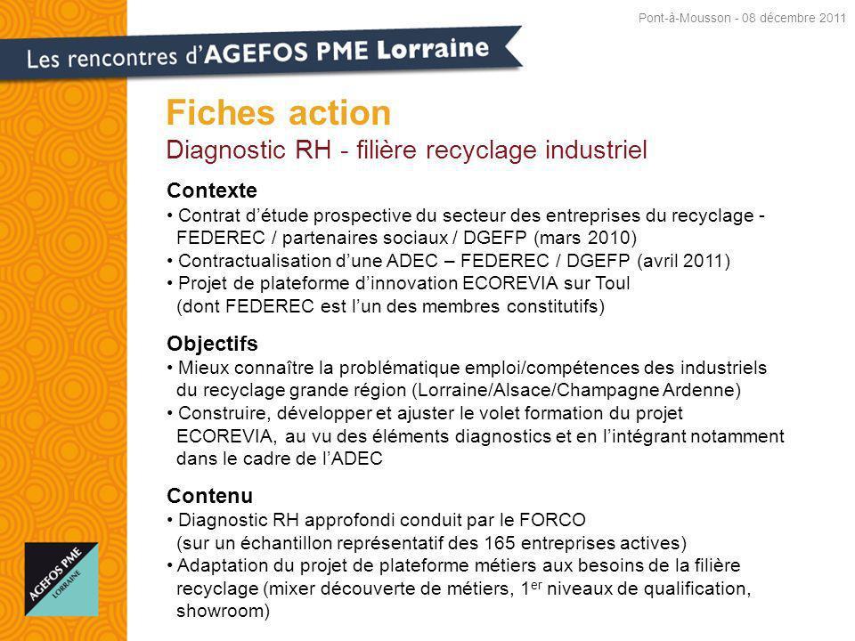 Fiches action Diagnostic RH - filière recyclage industriel Contexte