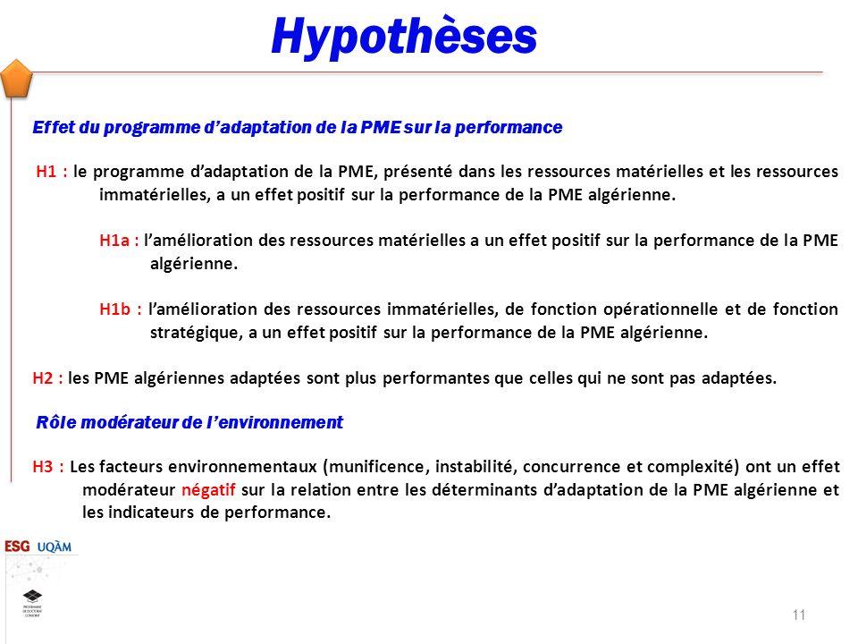 Hypothèses Effet du programme d'adaptation de la PME sur la performance.